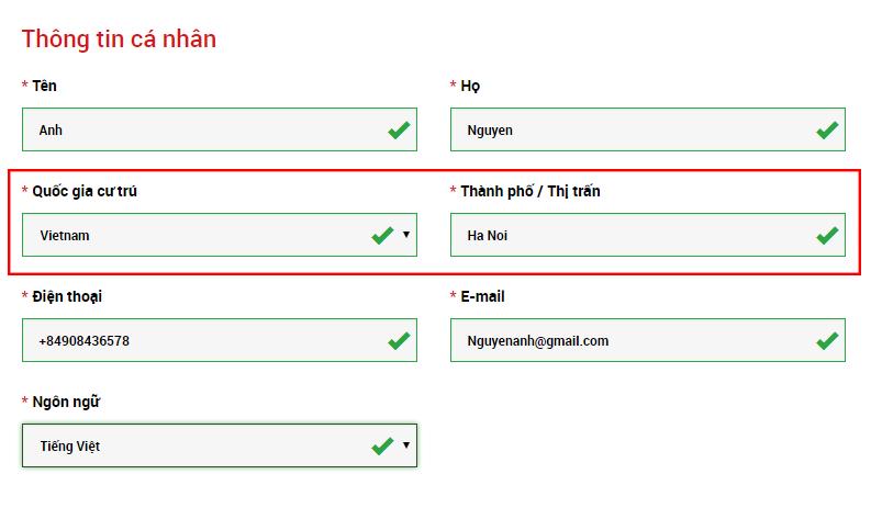 Nhập thông tin địa chỉ tài khoản demo XM